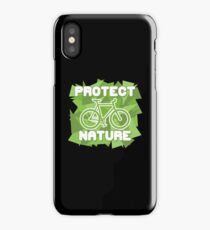 Protect Nature Environmental Green Earth Vegan Cyclist Shirt iPhone Case