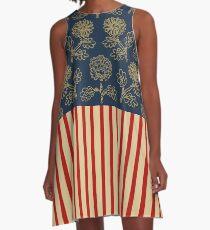 Flowers, Muster, Streifen A-Linien Kleid