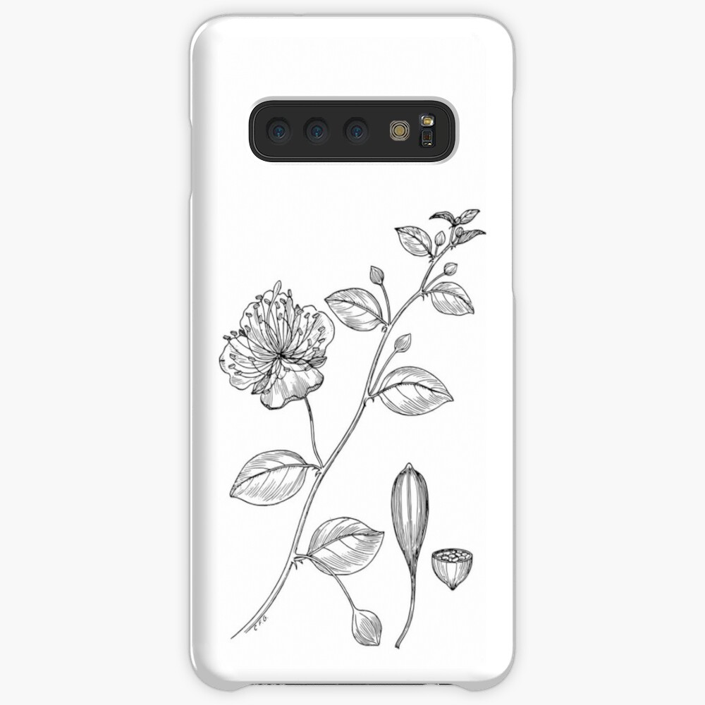 Botanical Scientific Illustration Black and White Caper  Case & Skin for Samsung Galaxy