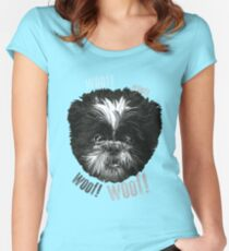 Shih-Tzu Says Woof! Woof! Women's Fitted Scoop T-Shirt