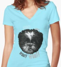 Shih-Tzu Says Woof! Woof! Women's Fitted V-Neck T-Shirt
