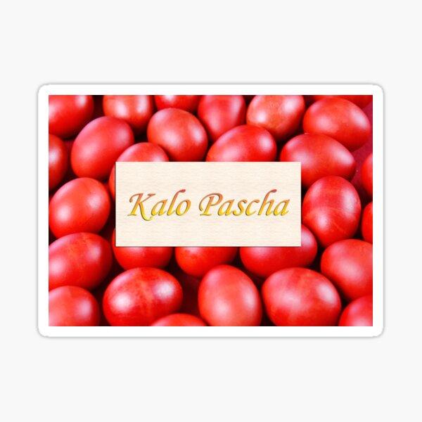 Kalo Pascha Red Greek Easter Eggs Sticker