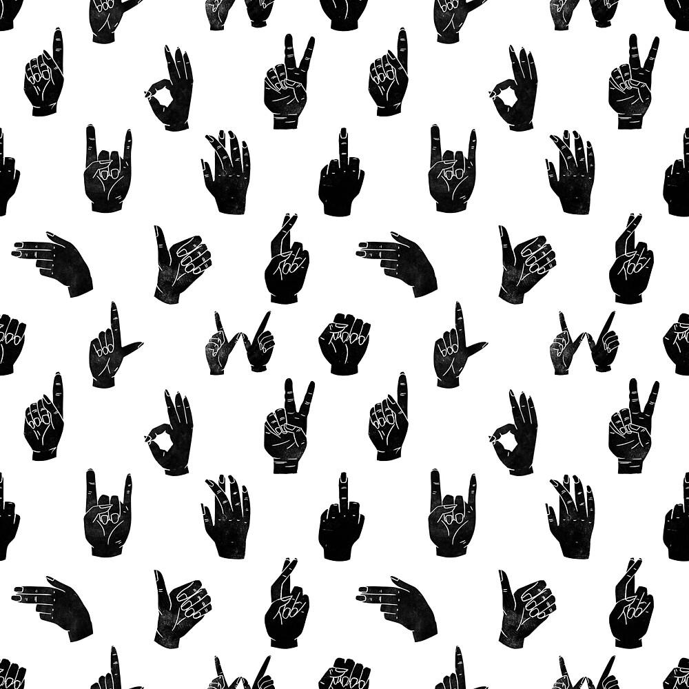 Linocut Hand Symbols Sign Language Hands Printmaking Black And White