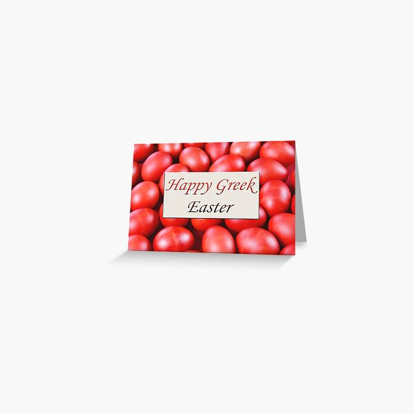Happy Greek Easter With Red Traditional Eggs Greeting Card