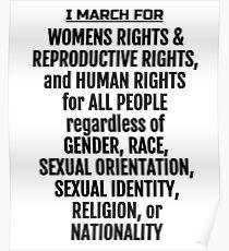 Ich marschiere für Frauenrechte; Frauenmärsche Poster
