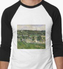 Stolen Art - View of Auvers-sur-Oise by Paul Cezanne Men's Baseball ¾ T-Shirt
