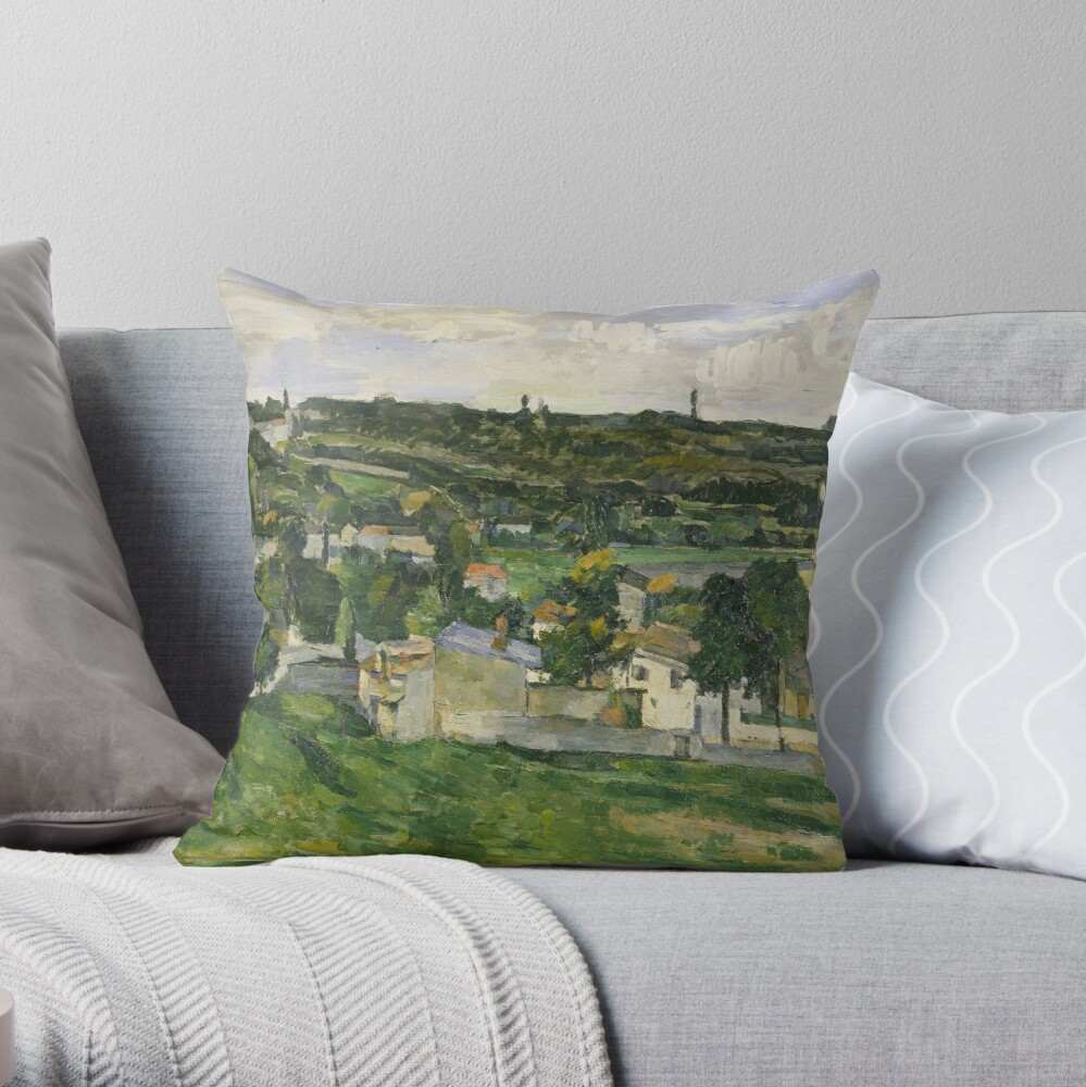 Stolen Art - View of Auvers-sur-Oise by Paul Cezanne Throw Pillow