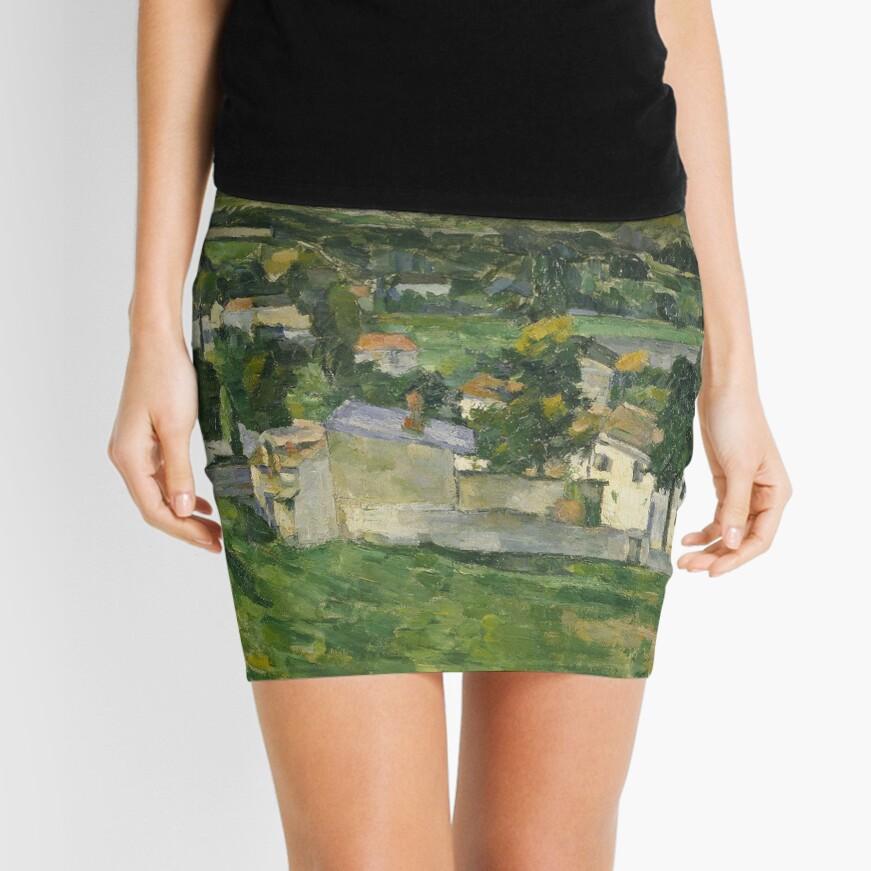 Stolen Art - View of Auvers-sur-Oise by Paul Cezanne Mini Skirt