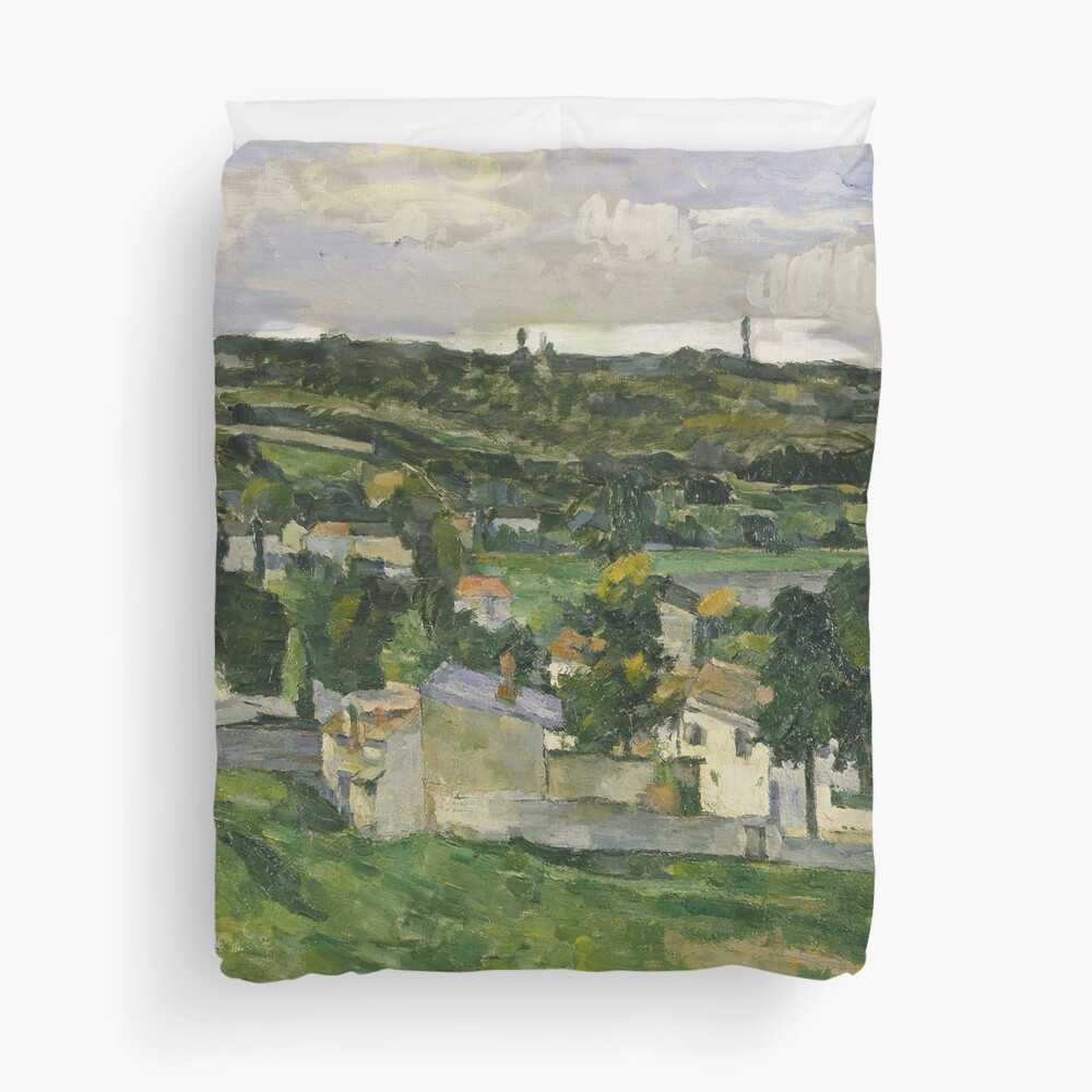 Stolen Art - View of Auvers-sur-Oise by Paul Cezanne Duvet Cover