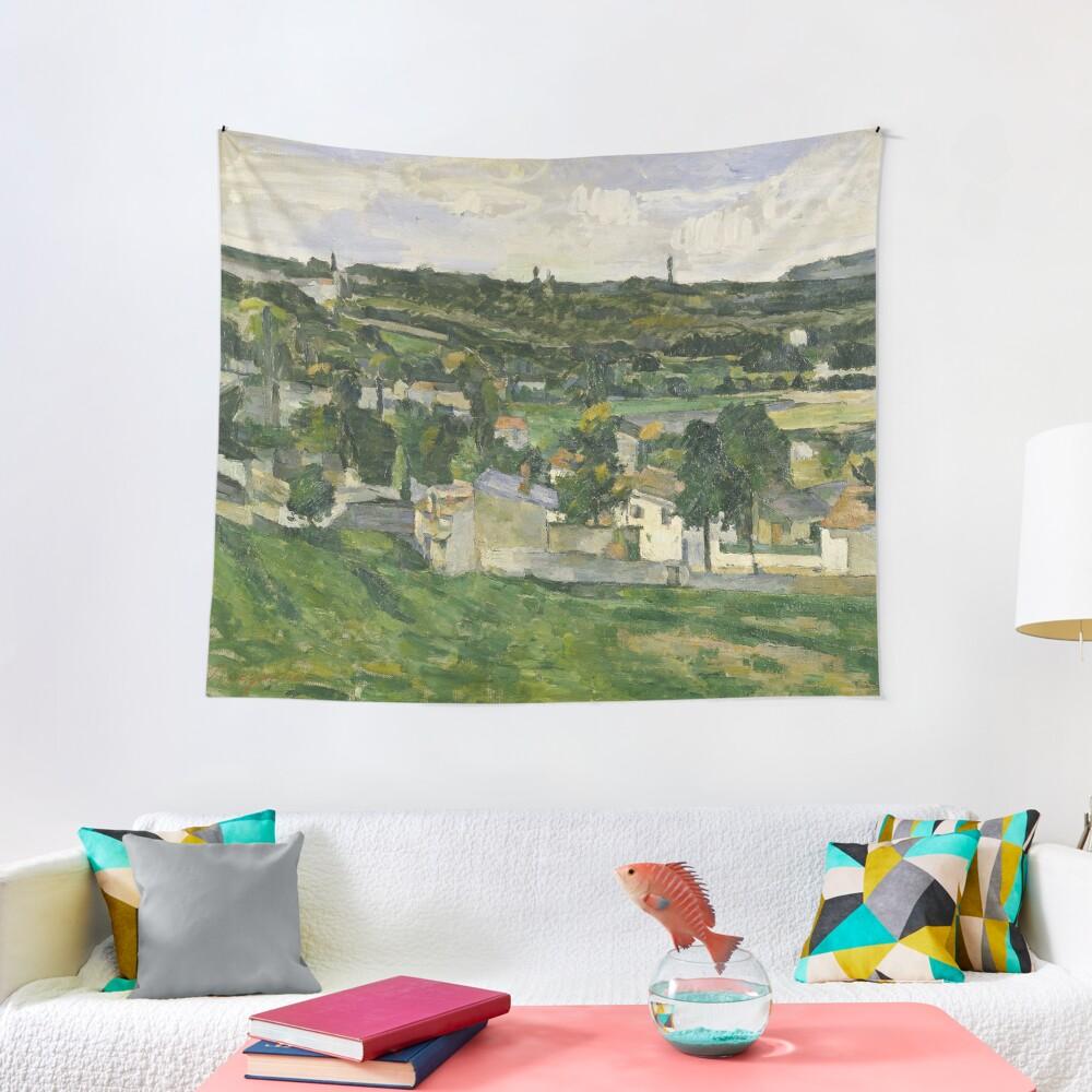 Stolen Art - View of Auvers-sur-Oise by Paul Cezanne Tapestry