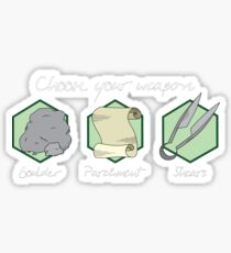 Boulder Parchment Shears (Light Text): A Dungeons And Dragons Game Sticker