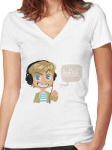 PEWDS Women's Fitted V-Neck T-Shirt