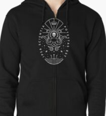 Knowledge - White/Skull Zipped Hoodie