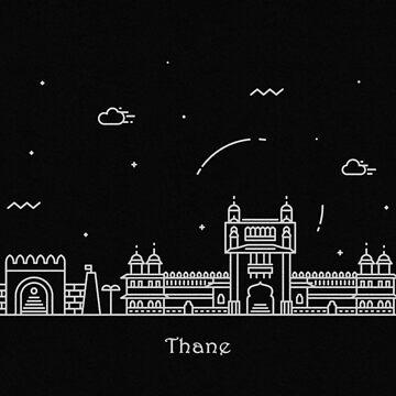 Thane Skyline Minimal Line Art Poster by geekmywall
