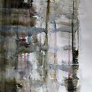 Yacht near reinforced concrete landscape, Abstract painting by Dmitri Matkovsky
