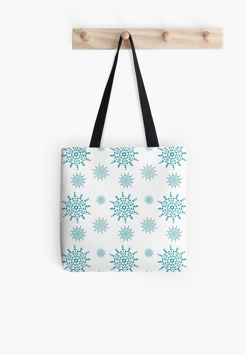 Teal Snowflakes on White by artkecco