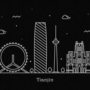Tianjin Skyline Minimal Line Art Poster by geekmywall