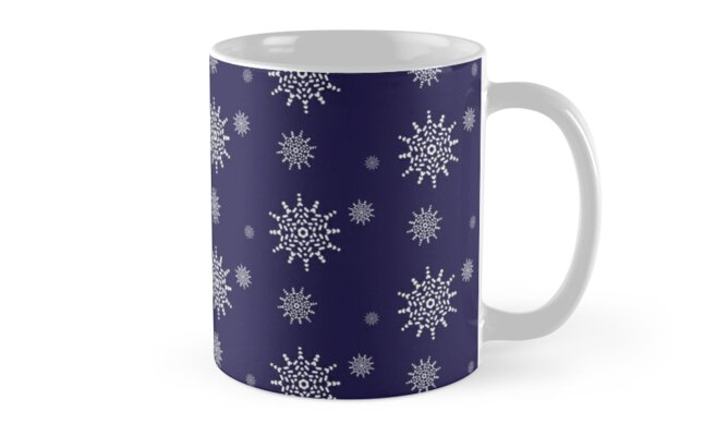 White Snowflakes on Midnight Blue by artkecco