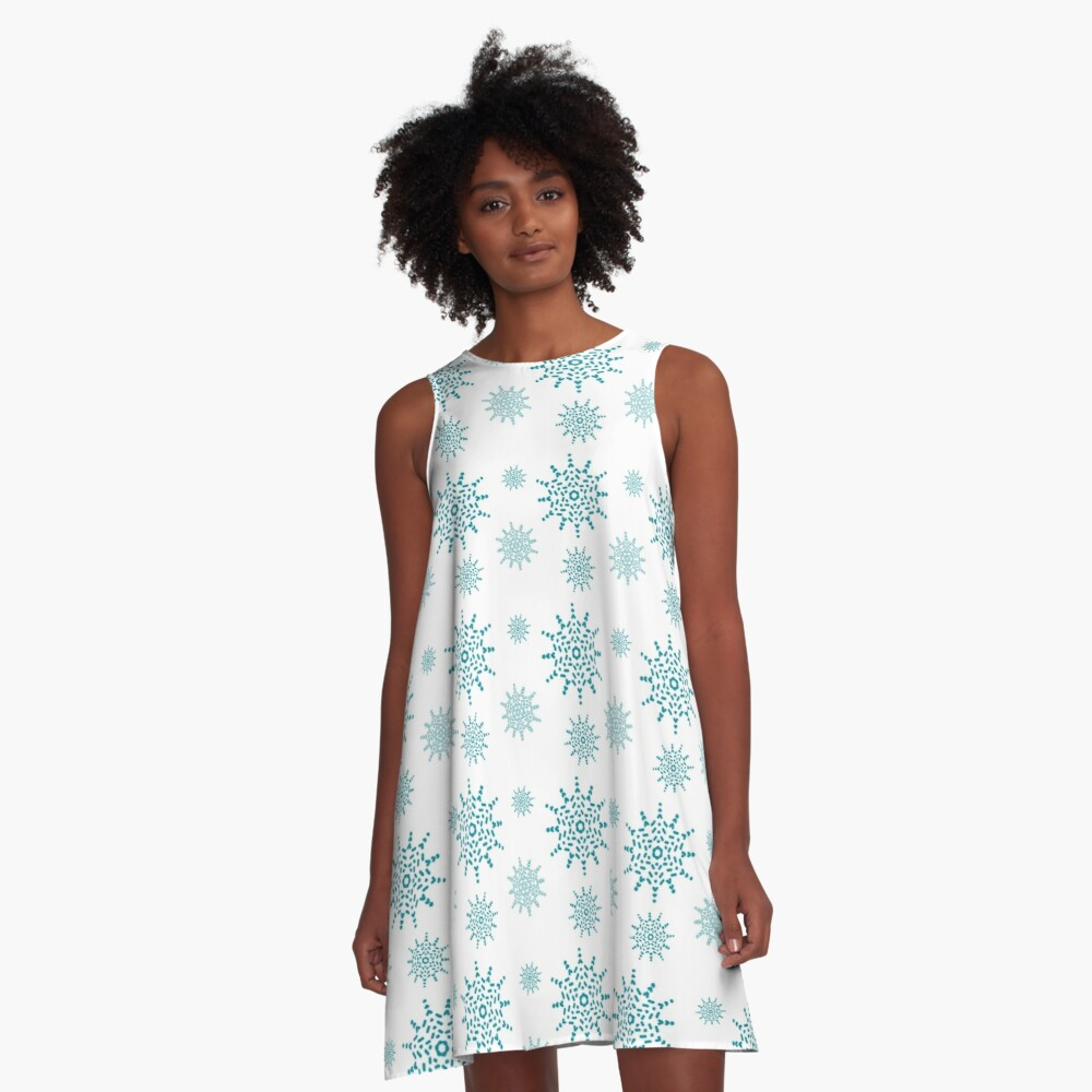 Teal Snowflakes on White A-Line Dress Front