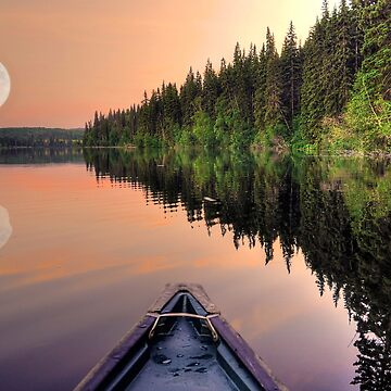 View from a Canoe of a Super Moon by RavenPrints