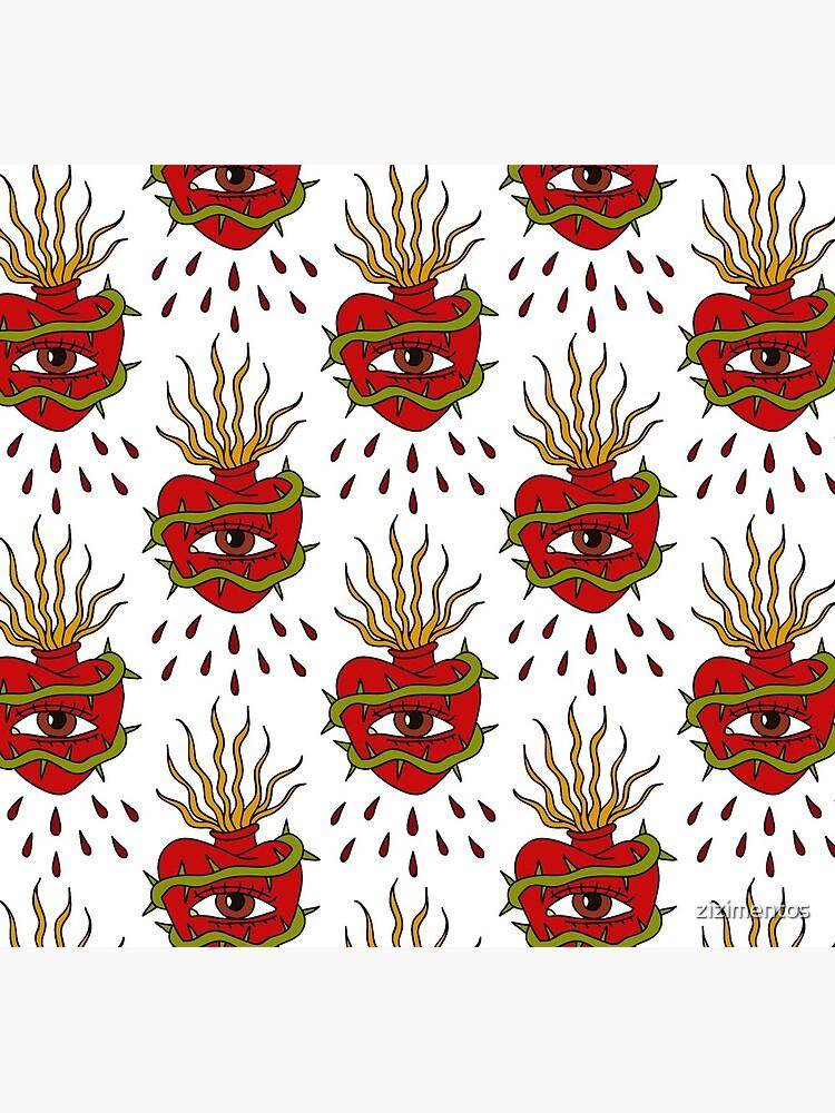 sacred heart illustration traditional tattoo flash by zizimentos