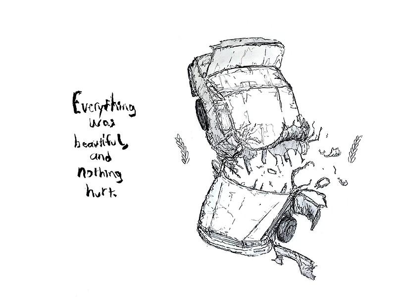 Car crash illustration, Kurt Vonnegut Slaughterhouse-Five quote ...