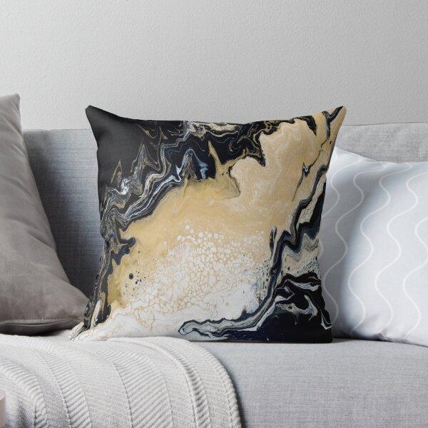 Black Gold Acrylic Pour Throw Pillow