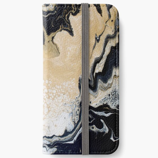 Black Gold Acrylic Pour iPhone Wallet