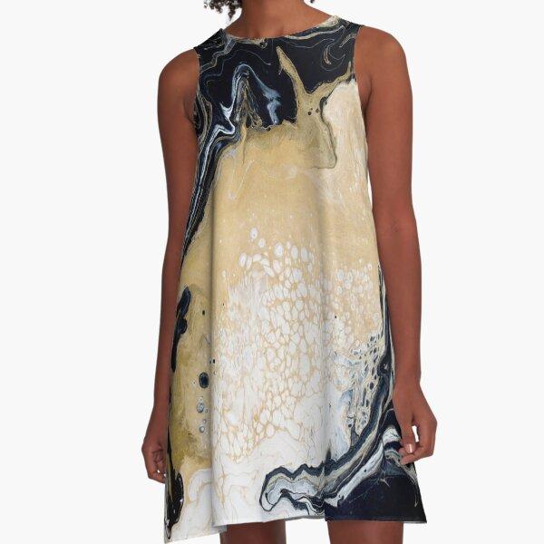 Black Gold Acrylic Pour A-Line Dress