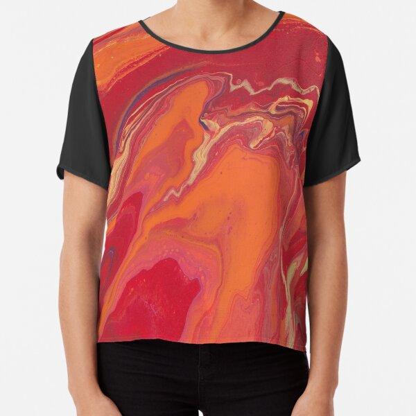 Sunset Geode Acrylic Painting Chiffon Top