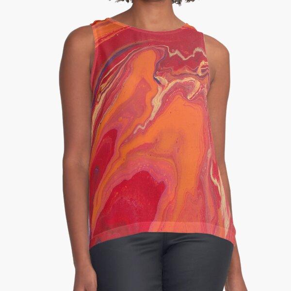 Sunset Geode Acrylic Painting Sleeveless Top