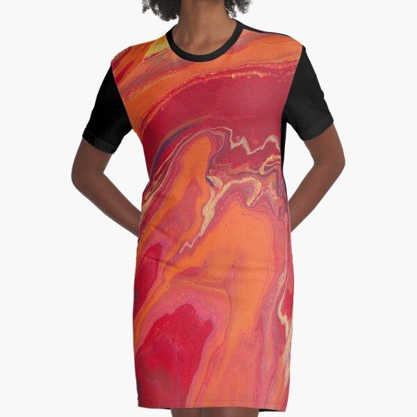 Sunset Geode Acrylic Painting Graphic T-Shirt Dress