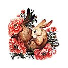 Rabbit and Flowers in White by Lindsey Bell