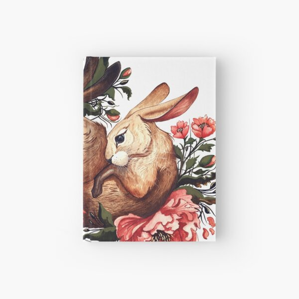 Rabbit and Flowers in White Hardcover Journal