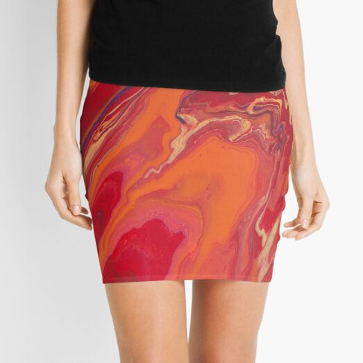 Sunset Geode Acrylic Painting Mini Skirt