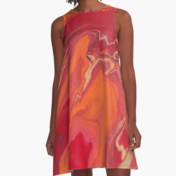 Sunset Geode Acrylic Painting A-Line Dress