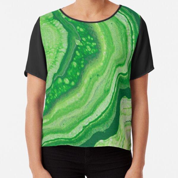 Green Geode Acrylic Pour Chiffon Top