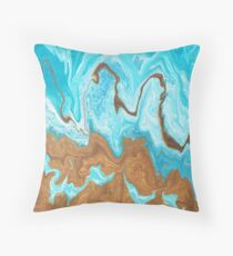 Thin Mint Swirl: Acrylic Pour Painting Throw Pillow