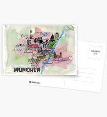 Munich Germany Retro Map Postcards