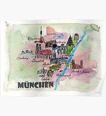 München Deutschland Retro Map Poster