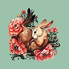 Rabbit and Flowers in Green by Lindsey Bell