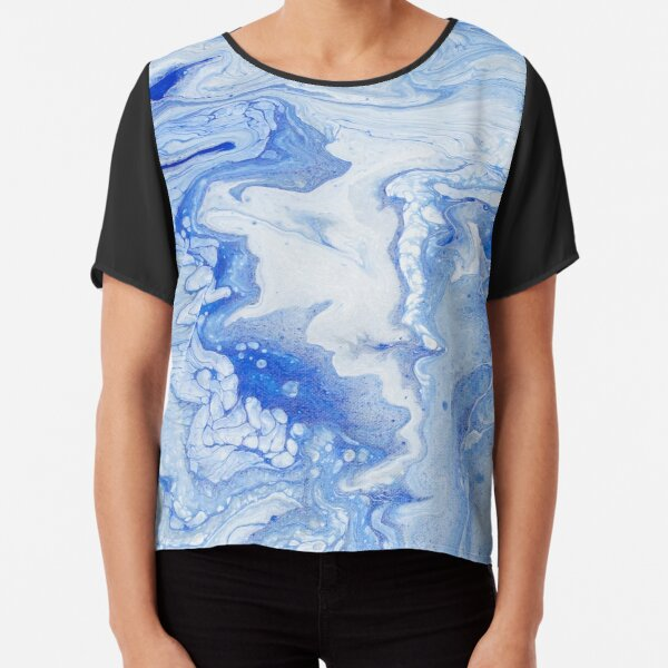 Wintry Fairy Land: Acrylic Pour Painting Chiffon Top
