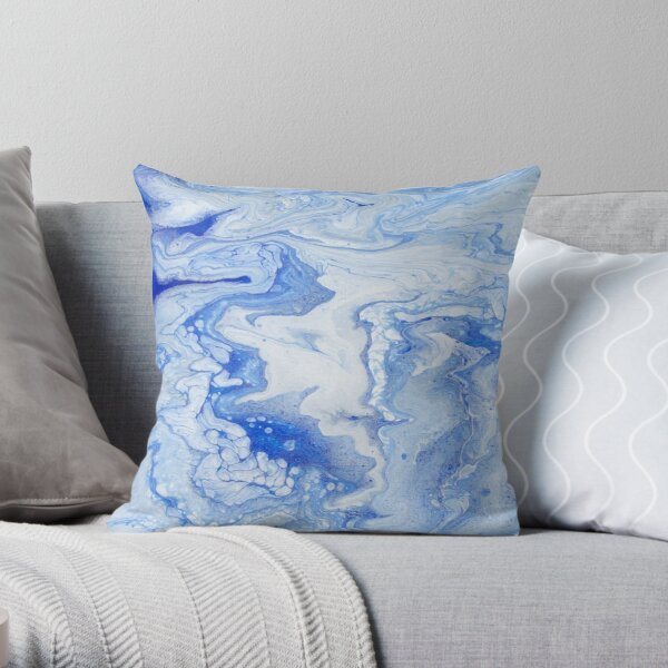 Wintry Fairy Land: Acrylic Pour Painting Throw Pillow