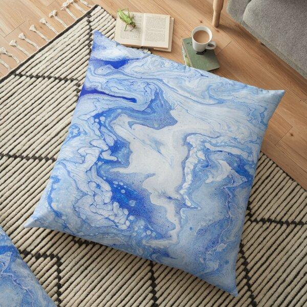 Wintry Fairy Land: Acrylic Pour Painting Floor Pillow
