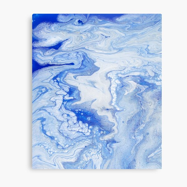 Wintry Fairy Land: Acrylic Pour Painting Metal Print