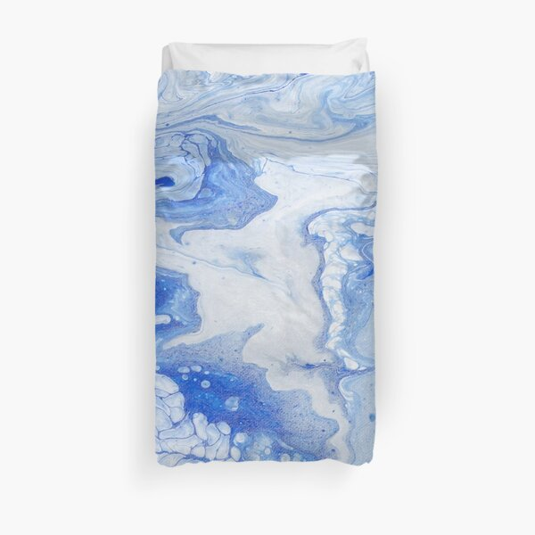 Wintry Fairy Land: Acrylic Pour Painting Duvet Cover