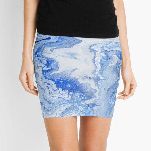 Wintry Fairy Land: Acrylic Pour Painting Mini Skirt