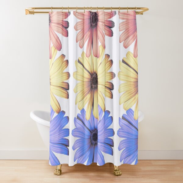 Daisies primary colors vertical Shower Curtain
