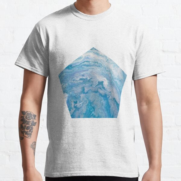 Icy Blue World: Acrylic Pour Painting Classic T-Shirt
