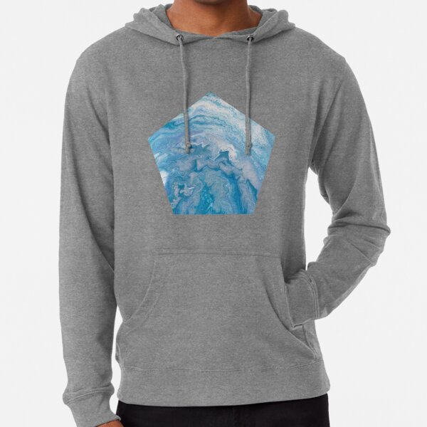 Icy Blue World: Acrylic Pour Painting Lightweight Hoodie